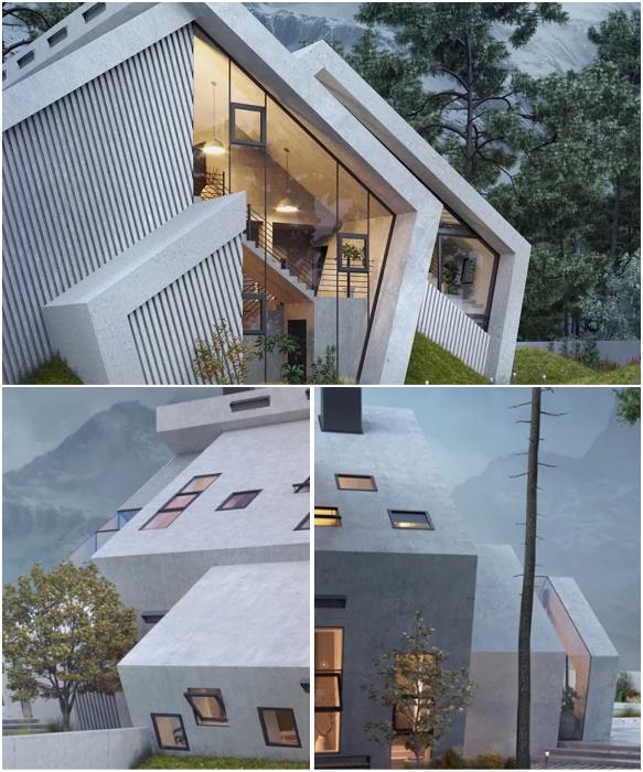 В  «Пентхаусе»  пятиугольники выполняют различные функции, разделяя дом на несколько зон (концепт Karina Wiciak).   Фото: successlifelounge.com/ © Wamhouse.