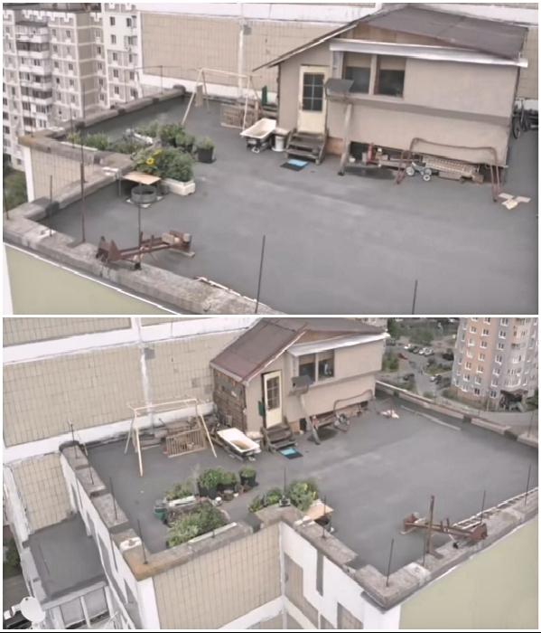 Киевлянин построил на крыше многоэтажки себе дачу с огородиком, но теперь начались проблемы.   Фото: youtube.com/ © Украина.РУ.
