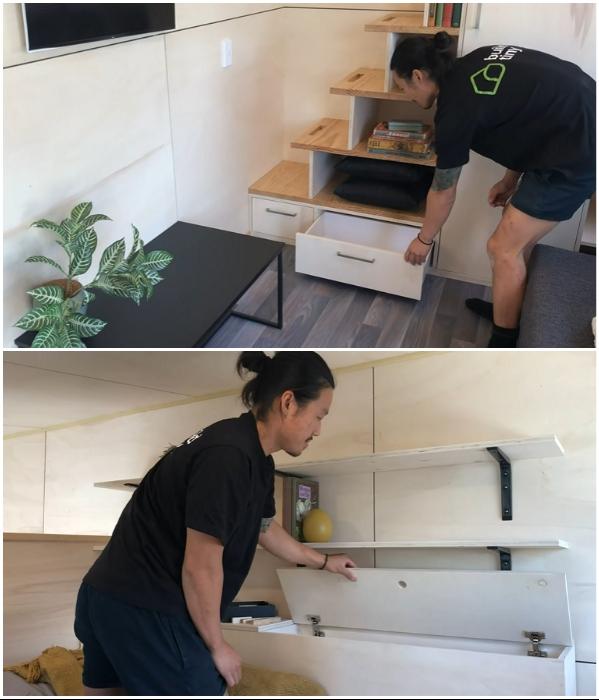 В спальню поменьше ведут ступени с секретом, в ней также есть ящик для вещей, выполняющий роль прикроватной полочки («Home Haven»). | Фото: youtube.com/ © Gina Stevens.