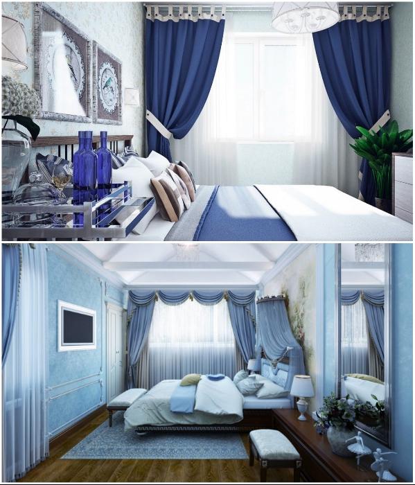 При создании монохромных интерьеров с использованием сине-голубой палитры лучше использовать контраст. | Фото: mydizajn.ru/ DizajnInfo.Ru.
