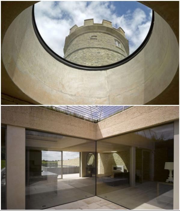 Стеклянные стены и огромные окна-иллюминаторы обеспечивают подземное пространство светом («Round Tower», Великобритания). | Фото: asaratov.livejournal.com.