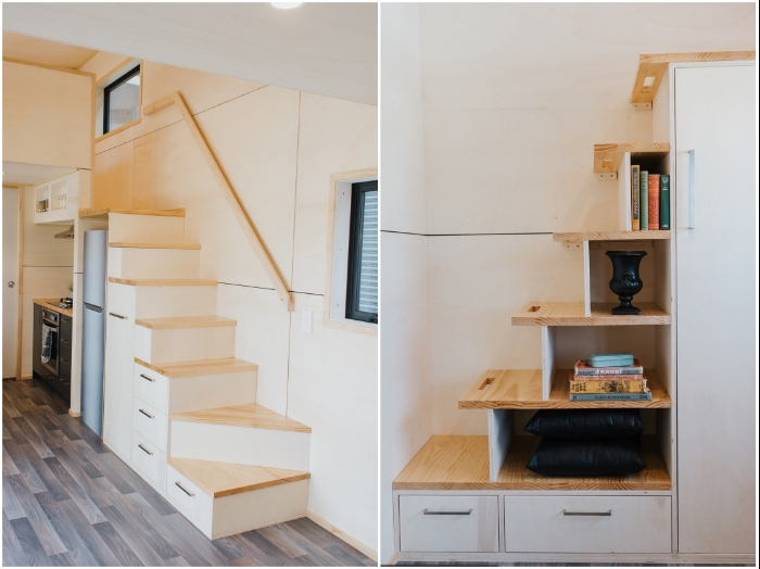 Многофункциональные ступени ведут в спальные комнаты, расположенные на втором уровне домика. | Фото: newatlas.com/ youtube.com, © Gina Stevens.