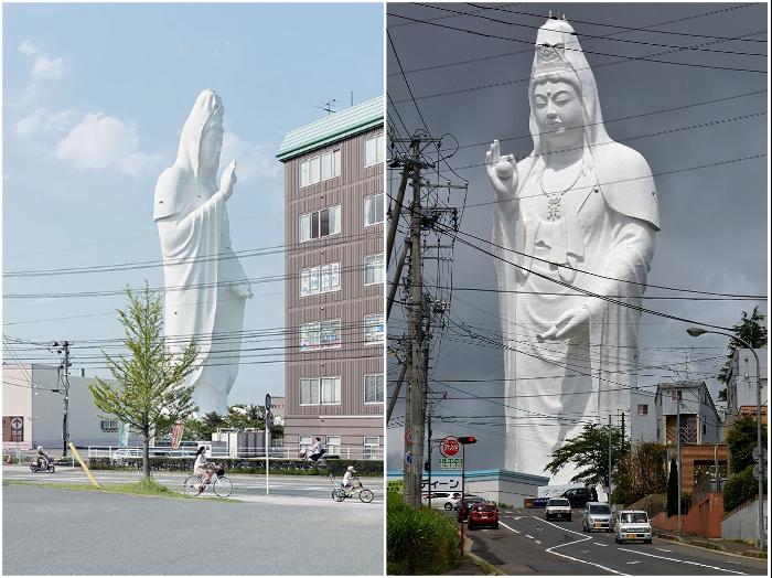 Если бы не провода электропередач, то статуя Каннон, появившаяся на горизонте, казалась бы не реальным воплощением божества (Сэндай, Япония). | Фото: secrets-world.com/ visitjapan.ru.