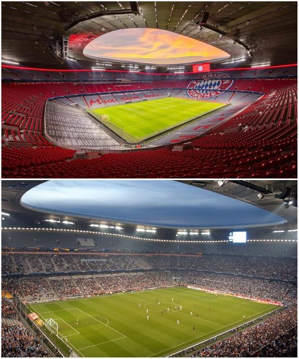 Allianz Arena вмещает 75 тыс. зрителей (Мюнхен, Германия). | Фото: holidaygid.ru/ tottenhamhotspur.com.