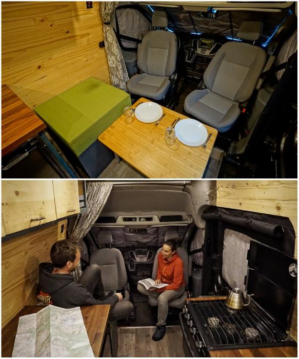 Благодаря установке поворотных кресел удалось организовать гостиную, столовую и рабочий кабинет. | Фото: instagram.com/ faroutride.