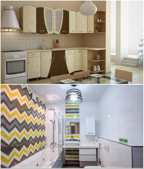 Самоклеящаяся пленка бывает разной фактуры и характеристик, поэтому используется в любых зонах квартиры. | Фото: bezkovrov.com/ kitchenguide.su.
