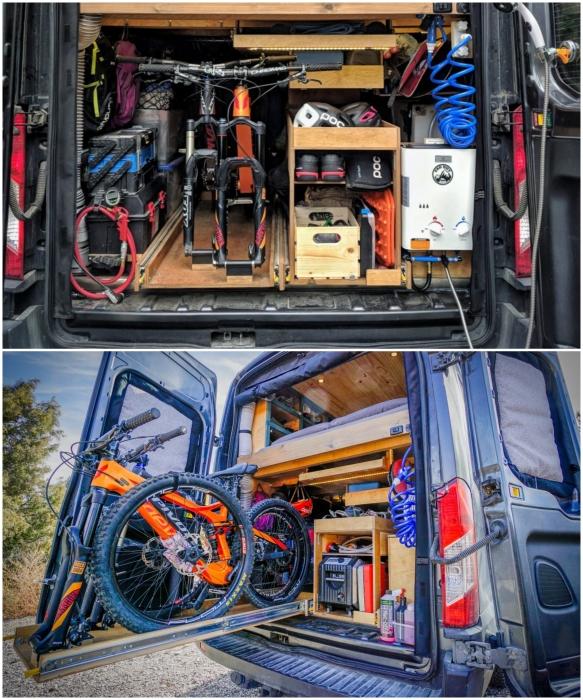 Под платформой с кроватью устроили кладовку, гардеробную и склад для хранения. | Фото: instagram.com/ faroutride.