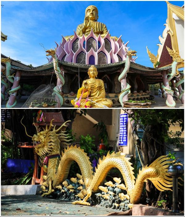 Величественная статуя Будды и многообразие драконов украшают территорию храмового комплекса «Wat Samphran». | Фото: diwerent.com/ liveinternet.ru.