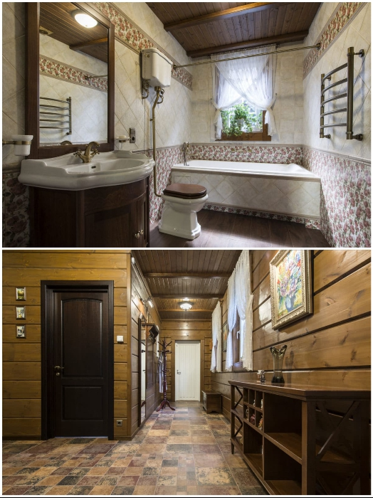 В прихожей и в ванной комнате на окнах красуется легкая полупрозрачная ткань с элементами изящной вышивки. | Фото: ko.jezyki24.info.
