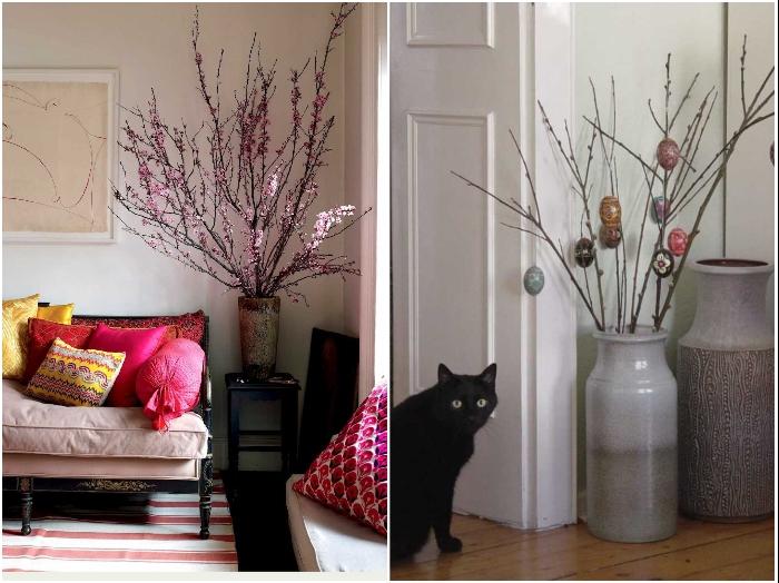 В углу можно поставить напольные вазы с сухими ветками или цветами. | Фото: dizainvfoto.ru/ homebuilding.ru.