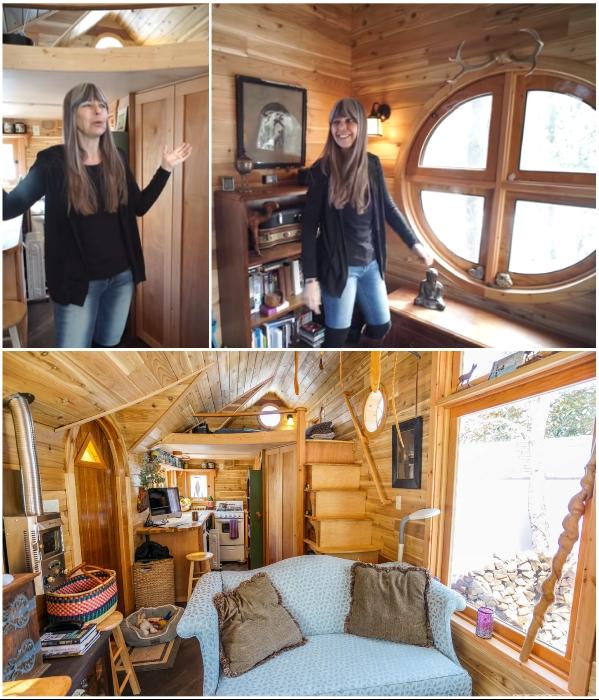 Крошечный домик The Pinafore причудливой формы оборудован по высшему разряду (проект Zyl Vardos, США). | Фото: tinyhousegiantjourney.com/ youtube.com, Tiny House Giant Journey.