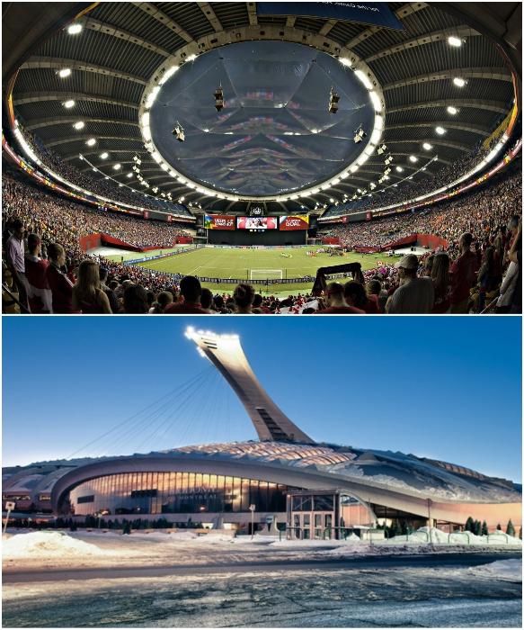 На трибунах Олимпийского стадиона в Монреале помещается чуть более 65 тыс. болельщиков (Канада). | Фото: sportsvit.com.ua/ Arrivo.ru.