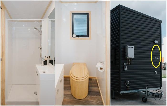 Для удобства владельцев мини-апартаментов создали не только благоустроенную ванную комнату и туалет внутри жилища, но и уличный душ («Home Haven»). | Фото: newatlas.com/ buildtiny.co.nz, © «Build Tiny».