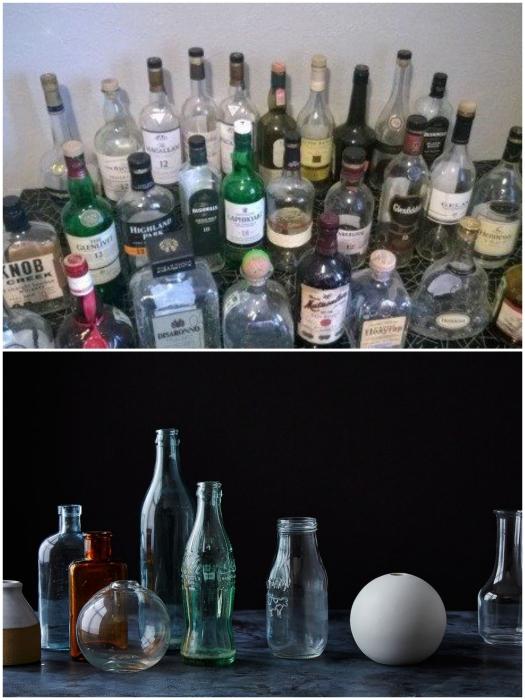 Несмотря на то, что в этих бутылках был когда-то элитный алкоголь или форма очень уж понравилась, лучше избавьтесь от лишнего хлама сразу. | Фото: festima.ru/ roomble.com.