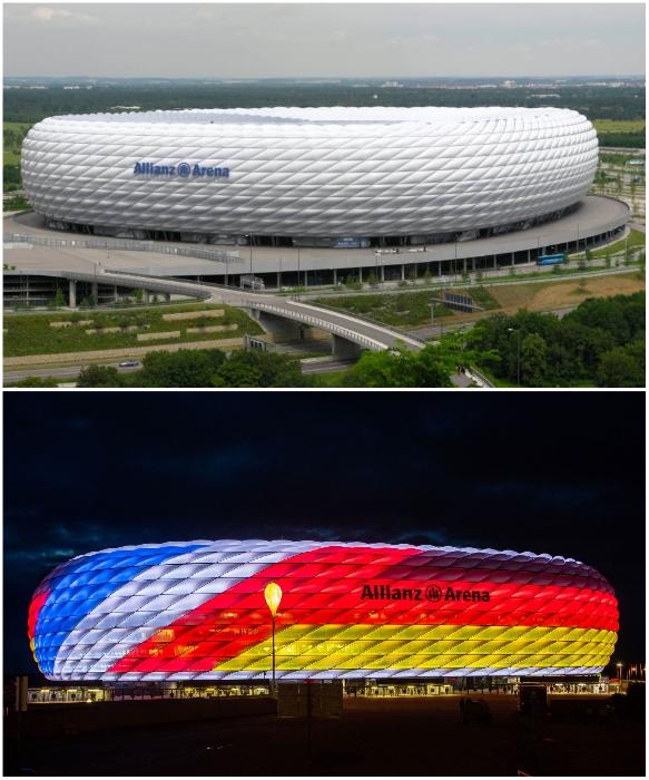 «Альянц Арена» – самый эффектный стадион Германии. | Фото: gid-bavaria.com/ munihtehayat.com.