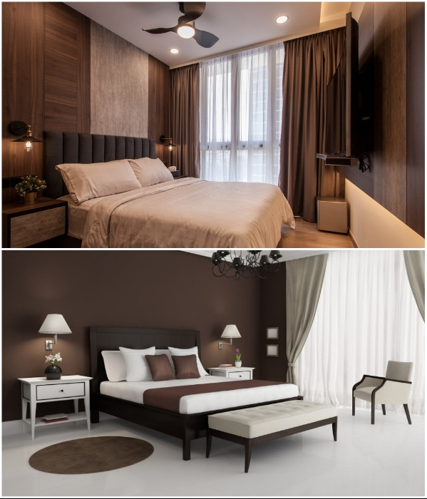 Коричневым цветом в спальне лучше не злоупотреблять. | Фото: design-homes.ru/ clubexpert.su.
