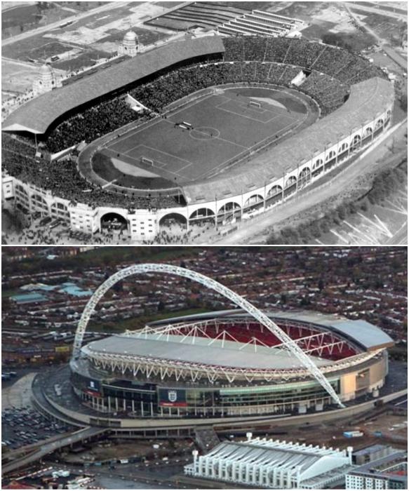 Так выглядел Стадион Уэмбли в 2000 г. и после строительства в 2007 г. | Фото: 100dorog.ru/ fakty.ua.