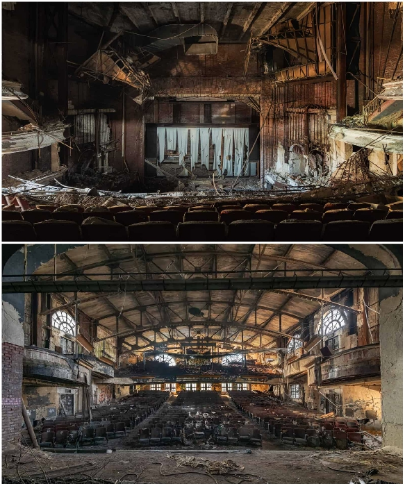 Когда то на этой сцене шли представления и развлекательные шоу, а теперь полная разруха (театр «Два в одном», США). | Фото: obsidianurbexphotography.com.