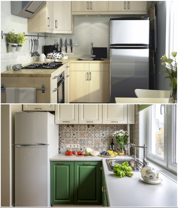Даже если кухня совсем миниатюрная ничто не должно мешать передвижению хозяйки во время приготовления пищи. | Фото: houzz.ru/ modernplace.ru.