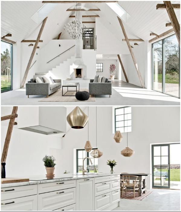 Большая площадь и высокие потолки помогли организовать открытое и светлое пространство в загородном доме (проект Джонатана Андерссона). | Фото: realestate.com.au.