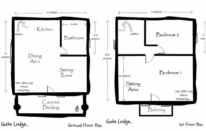 Планировка первого и второго яруса бревенчатого дома «Stunning Gate Lodge», созданного компанией The Little Log House. | Фото: stiri.magazinuldecase.ro.