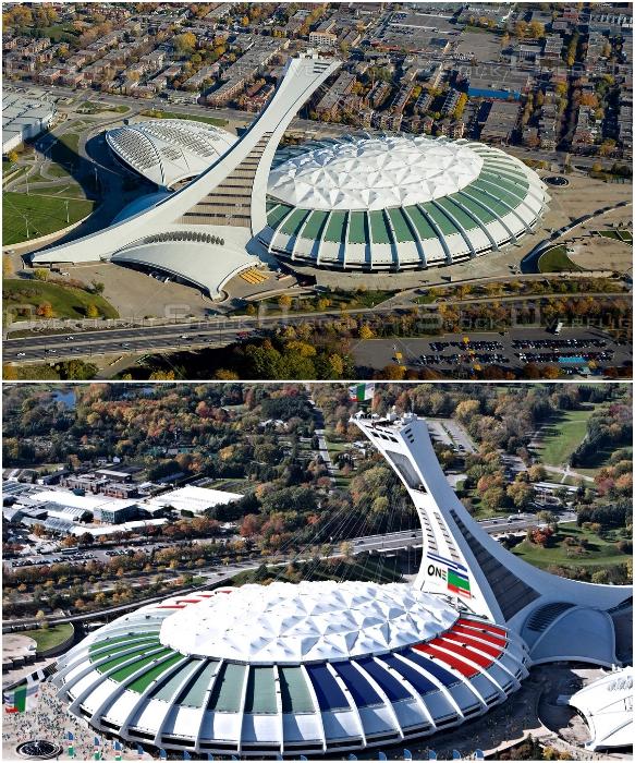 Олимпийский стадион в Монреале считается одним из самых дорогостоящих проектов спортивных сооружений. | Фото: overflightstock.com/ twitter.com.