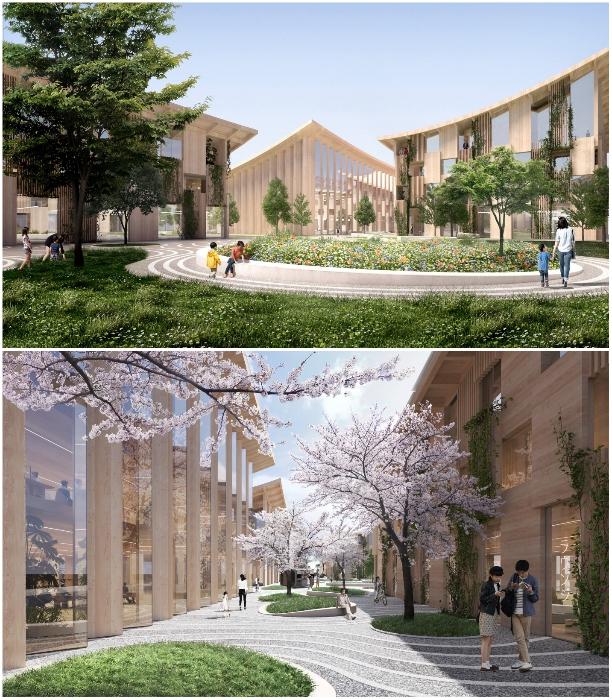 Планируется максимальное озеленение всех общественных и пешеходных зон города (концепт «Woven City»). | Фото: newatlas.com.
