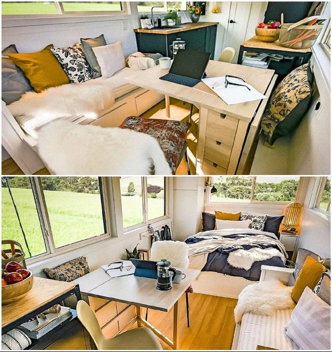 Гостиная легко превращается в домашний офис (Ikea Tiny Home).