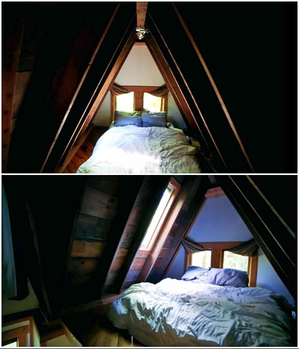 В этой спальне можно не только отдыхать, но и наслаждаться звездным небом. | Фото: youtube.com/ © Living Big In A Tiny House.