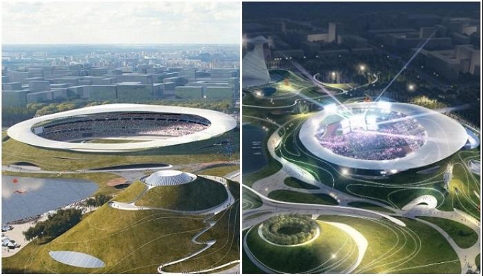 Огромная спортивная арена станет первым объектом, который планируют сдать уже в 2021 г. | Фото: pragmatika.media/ © MAD Architects.