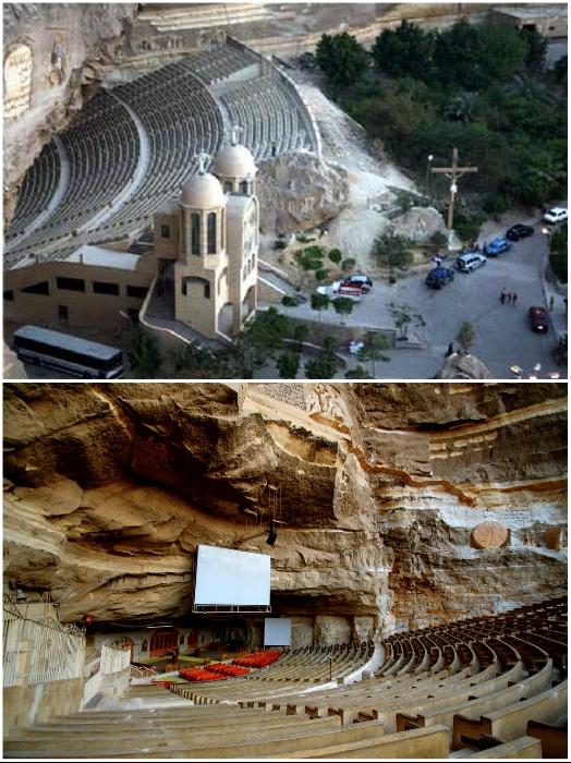 Амфитеатр основной церкви занимает площадь более 1 тыс. кв. м. (храм Св. Симеона, Каир). | Фото: wikimapia.org/ omyworld.ru.