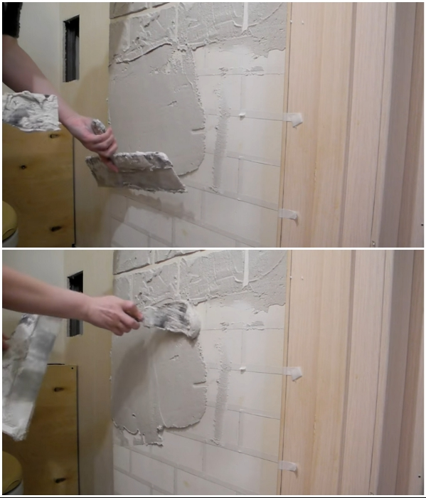 Вначале наносится шпатлевка большим шпателем, а маленьким можно создавать фактурность поверхности. | Фото:  youtube.com/ © Екатерина Басми.