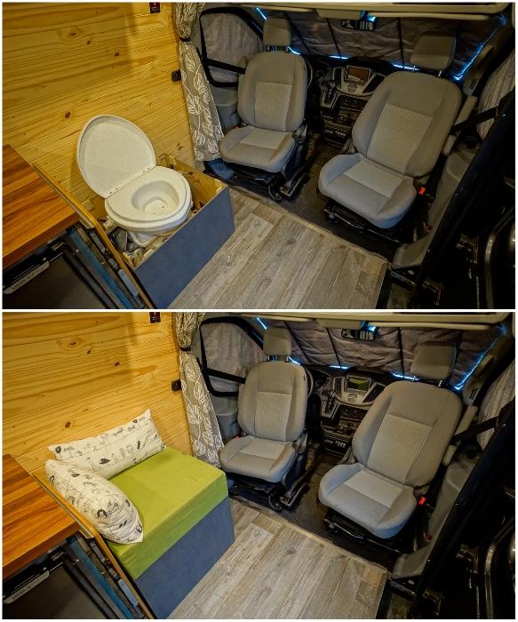 В автофургоне получилось установить компостирующий туалет. | Фото: faroutride.com.