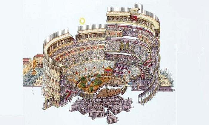 Схема всех уровней самого грандиозного амфитеатра Римской империи.
