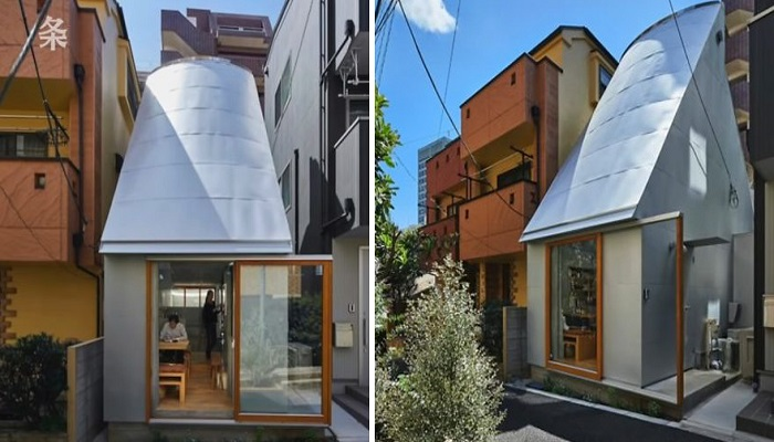 В первую очередь бросается в глаза необычная форма крыши миниатюрного дома («Love2House», Токио). | Фото: boredpanda.com.