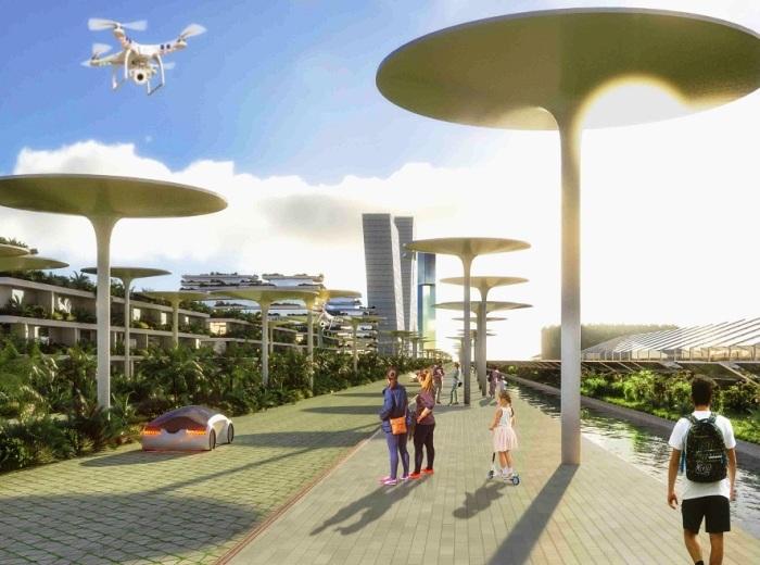 В городе будущего будут обустроены парки отдыха и развлекательные центры (визуализация Smart Forest City, Мексика). | Фото: stefanoboeriarchitetti.net.