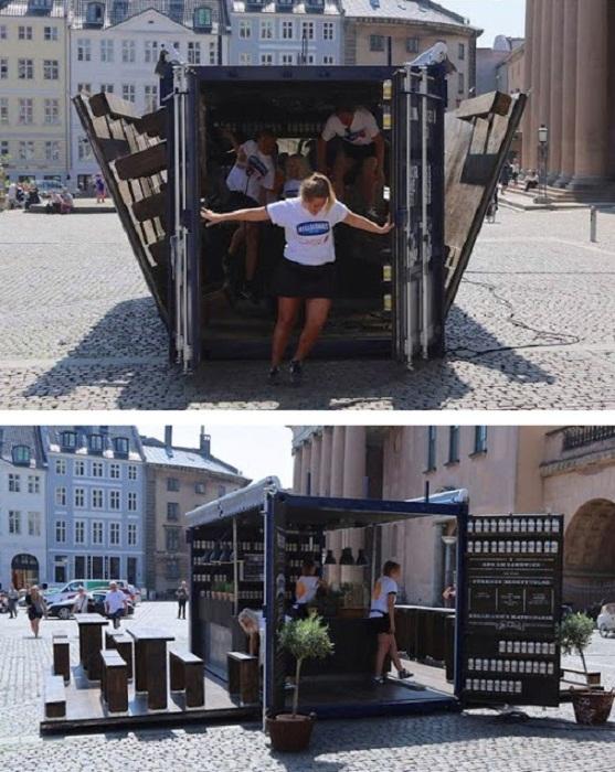 Необычайная трансформация стандартного контейнера. Откидные стены маленького бара служат площадкой для отдыха гостей.