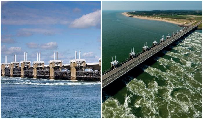 Многофункциональная дамба Delta Works стала спасением для большей части страны (Нидерланды).