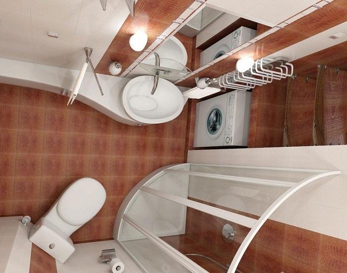 Интерьер современной малогабаритной ванной комнаты.