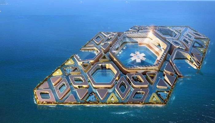 Китайцы спроектировали «плавающий» город с высокоразвитой подводной инфраструктурой (концепт «Eco Atlantis»). | Фото: budport.com.ua.