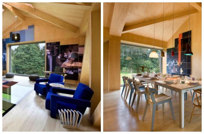 Интерьер гармонично сочетает деревенский и современный стили («Balancing Barn»).