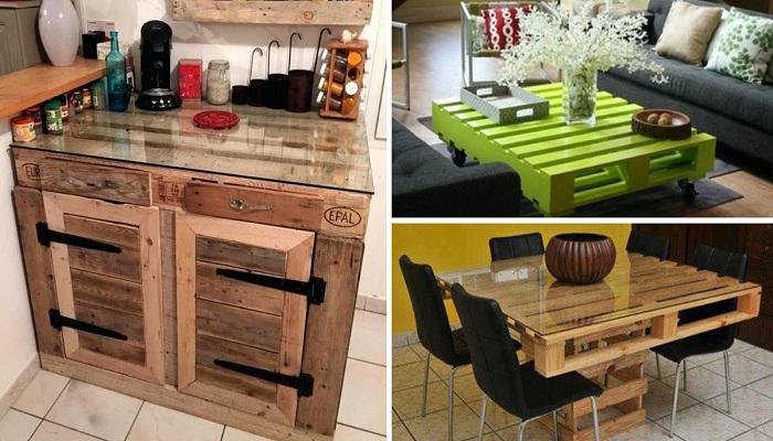Из обычных строительных поддонов можно сделать самые различные столы.