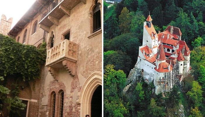 Самые знаменитые фейковые достопримечательности мира (Балкон Джульетты и замок графа Дракулы).