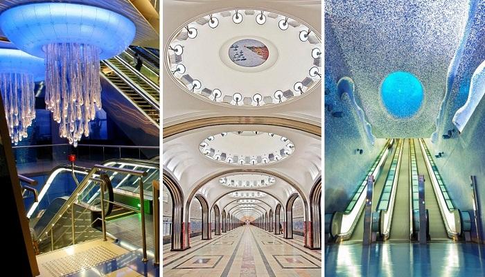 Самые красивые станции метрополитена мира (Дубаи, Москва, Неаполь).
