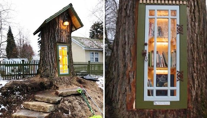 Старое дерево превратили у удивительную библиотеку Little Free Library (Кер-д'Ален, США).