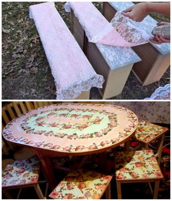 Обновление старой мебели в стиле декупаж.