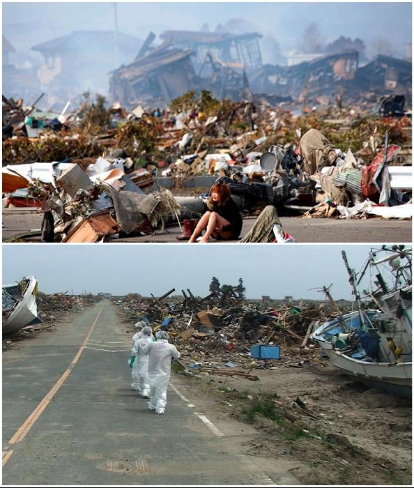 Вот такую разруху оставила после себя гигантская волна (Фукусима, Япония).