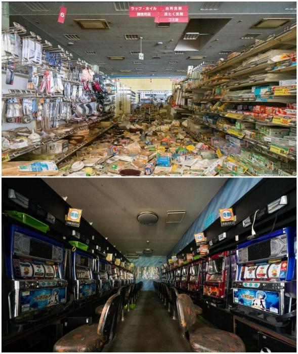 Заброшенные магазины и игровые автоматы в зоне отчуждения (Фукусима, Япония).