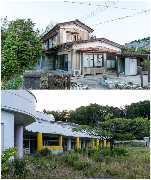 В этих красивых домах жили люди, а теперь их территорию отвоевывает природа (Фукусима, Япония).