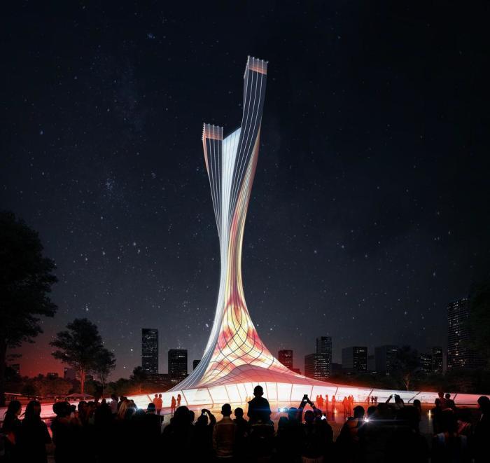 Цвет фасада башен будет меняться в зависимости от времен года (Xiangjiang Gate, концепт RMJM Shanghai). | Фото: cladglobal.com.